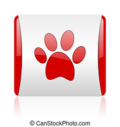 animal footprint red and white square web glossy icon