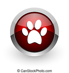 animal footprint red circle web glossy icon