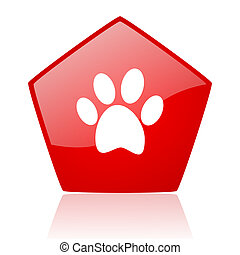 animal footprint red web glossy icon