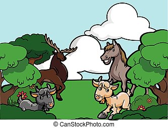 Animal forest park scene