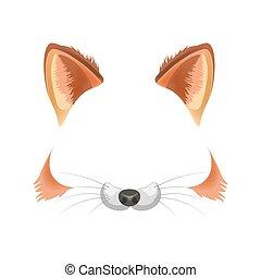 animal, foto, raposa, isolado, rosto, filtro, vetorial,...
