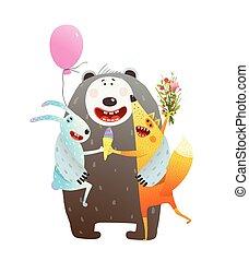 Animal Friendship Bear Rabbit Fox Hug