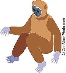 Animal gibbon icon, isometric style