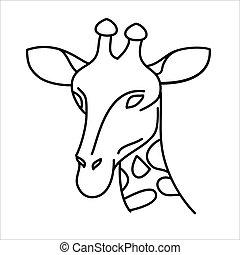 Animal giraffe icon design. Vector, clip art, illustration, line icon design style.