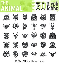 Animal glyph icon set, beast symbols collection, vector sketches, logo illustrations, farm signs solid pictograms package isolated on white background, eps 10.