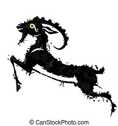 Animal goat chinese Lunar symbol. Chinese calligraphy goat. Vector illustration.