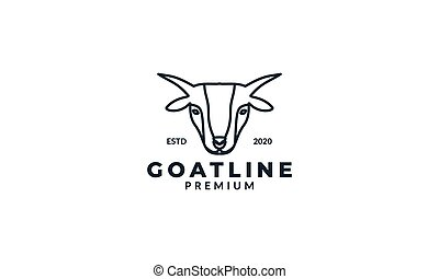 animal goat head line minimalist logo design icon