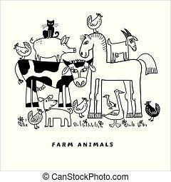 animal, gosses, ferme, projets, coloration, composition