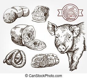 animal, gris, husbandry., vector, contra, products., natural...