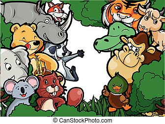 Animal group forest scenery