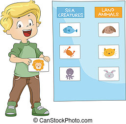 Animal Group - Illustration of a Kid Grouping Animals...