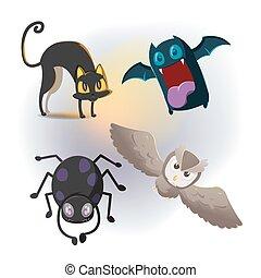 Animal Halloween Cartoon Collection Set Vector