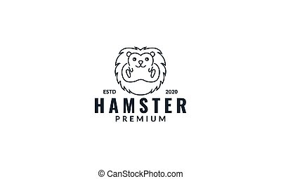 animal hamster face line cute modern logo design