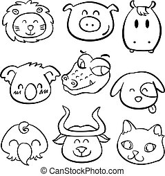 Animal head style doodle collection