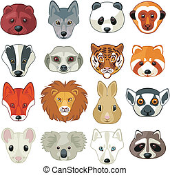 Animal Heads Set - Set with heads of various wild animals