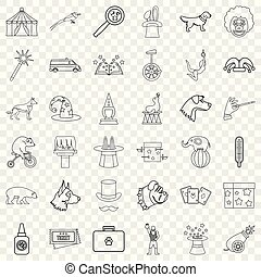 Animal health icons set, outline style