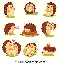 animal, hedgehog-tenrec, blanco, bosque, vector, erizo, sueño, aislado, plano de fondo, ilustración, espinoso, amor, juego, fauna, caricatura, carácter, o, niño, corazón, naturaleza, conjunto