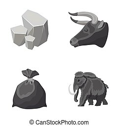 Animal, history and other monochrome icon in cartoon style.Mine, cleaning icons in set collection.