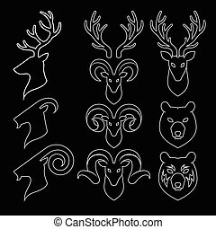 Animal Horn and Head Icons Set. Goat, Deer and Bear. Vector...