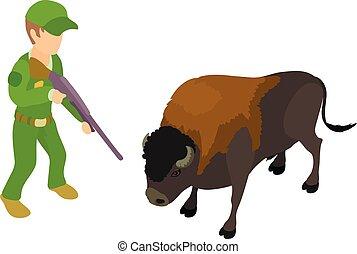 Animal hunter icon, isometric style