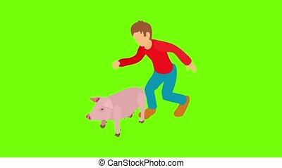 Animal husbandry icon animation cartoon best object on green screen background