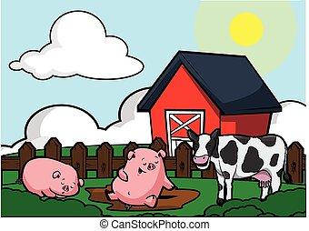 animal husbandry scene illustration