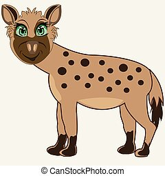 Animal hyena on white background is insulated