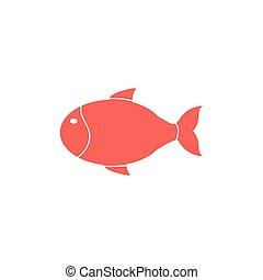 animal, icône, fish, vie mer, isolé, mignon