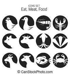 animal, icônes, viande, ensemble, :, fruits mer