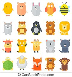 Animal icons collection. Flat animals set. Vector illustration.