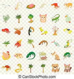Animal icons set, cartoon style