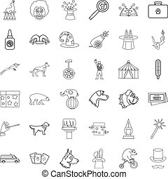 Animal icons set, outline style