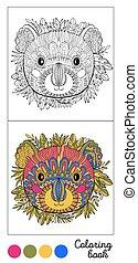 animal, illustration., game., vecteur, antistress., adultes, enfant, page, black., couleur, coloration, contour, images, livre