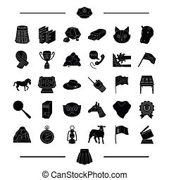 animal, industry, cinema and other web icon in black style. police, computer, country icons in set collection.