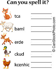 animal, inglés, hechizo, worksheet