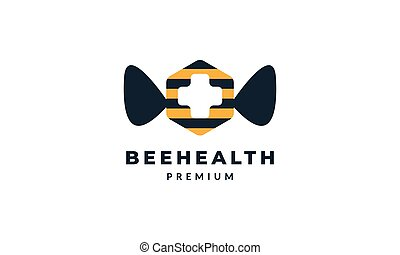 animal insect bee with medical cross logo vector icon illustration design