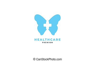 animal insect butterfly wings with health medical cross logo vector icon illustration design