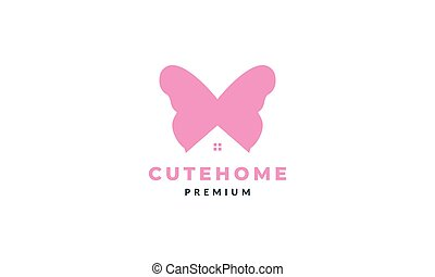 animal insect butterfly wings with home or house modern logo vector icon illustration design