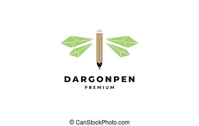 animal insect dragonflies with creative pencil logo vector icon illustration design
