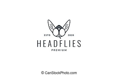 animal insect flies head wings lines logo vector icon illustration design