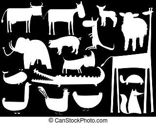 animal, isolado, silhuetas, experiência preta, branca
