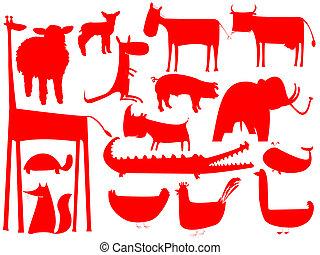 animal, isolado, silhuetas, fundo, branco vermelho