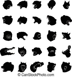 Animal jaws silhouettes set