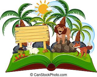 animal jungle scene pop up book illustration