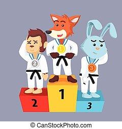 animal karate podium