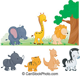 Animal Kingdom - Illustration of Animals Walking by