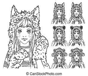 animal, largo, niña, pelo, lindo, set., diferente, hats.