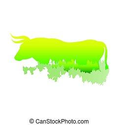 /animal, las, sylwetka, wnętrze, park, jasny, ilustracja, tło., kolor, wektor, sosna, byk, biały, symbol, logo, /