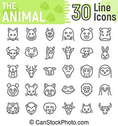 Animal line icon set, beast symbols collection, vector sketches, logo illustrations, farm signs linear pictograms package isolated on white background, eps 10.