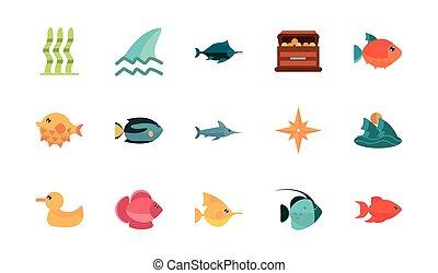 animal, mar, conjunto, vida marina, fauna, caricatura